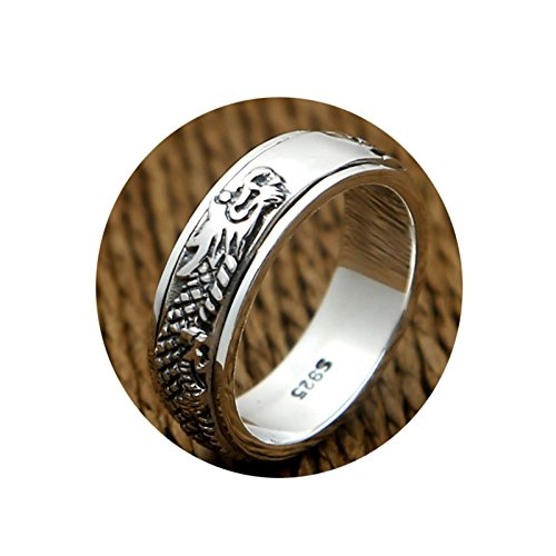 Cinnanal 925 Sterling Silver Ring Cool Vintage Rings for Men Women Dragonlucky Spinner Ring for Chinese Style