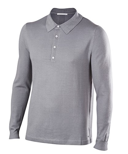 FALKE Herren Golf Langarm Polo Poloshirt, Grey Heather, L