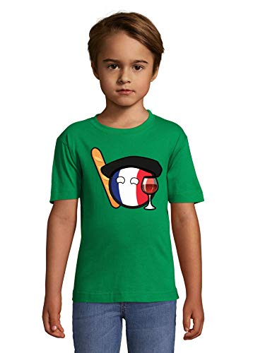 Iprints French Minimalistic Baguette and Wine Green Colorful Kids T-Shirt 10 Year Old