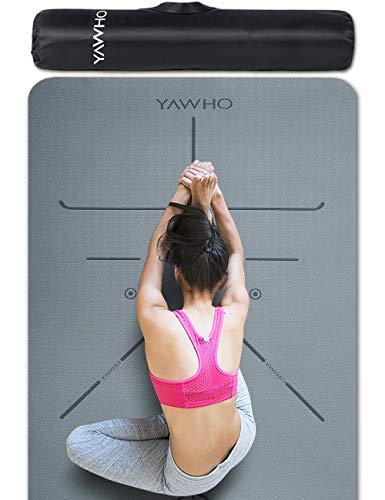 YAWHO Colchoneta de Yoga Esterilla Yoga Material medioambiental TPE,Modelo:183cmx66cm Espesor:6milímetros,Tapete de Deporte Grande y Antideslizante,Correas y Mochilas como Regalos (Grey)