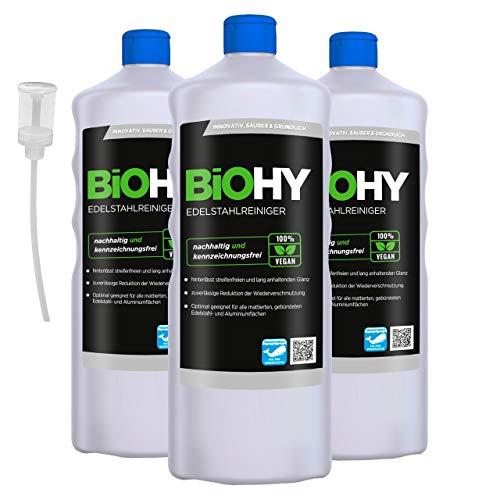BiOHY Edelstahlreiniger (3x1l Flasche) + Dosierer | Edelstahlpflege für neuen, streifenfreien Glanz | Schutz gegen Fingerabdrücke, Schmierflecken etc. | schonend und nachhaltig