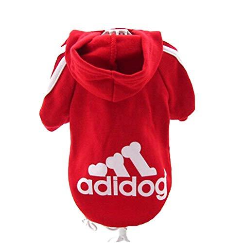 DOXMAL Adidog Hundebekleidung Winter Hunde Pullover Zubehör Hundepulli Kleidung Dog Clothes Kleine Hunde Rot (L, Rot)