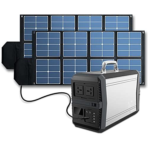 LJHSS Generador portátil de 1000W273000MHA Generador Solar + 2 * 100W Panel Solar Plegable Portátil, El 80% del Ciclo De Conversión De Energía Eléctrica Es Mayor Que 800 Veces La Protección Múltiple