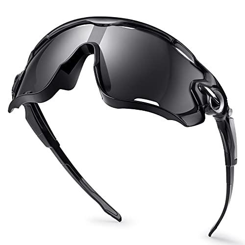 penobon Fahrradbrille UV400 Unisex Sportbrille Fahrradbrille Damenkann Sportbrille Damen Radbrille Herren zum Radfahren Laufen Angeln Beachvolleyball Outdoor-Aktivitäten(Schwarz)