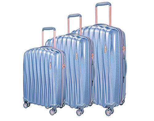 Verage Hartschalen-Koffer Glitter 3 teilig Kofferset mit Handgepäck S-M-L (Blau), erweiterbar, 4 Rollen S-PET Trolley TSA integriert