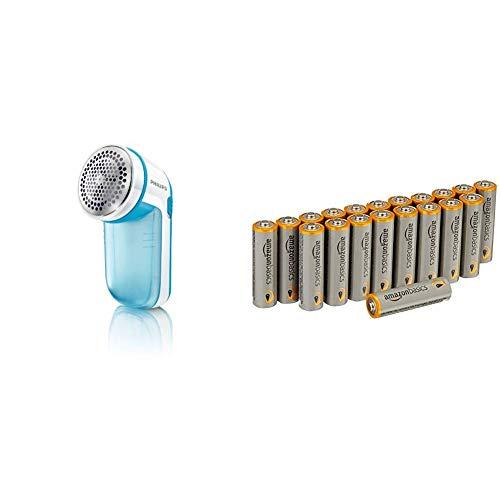 Philips GC026/00 Fusselrasierer für verschiedene Stoffe, 2 Höheneinstellungen, batteriebetrieben, türkis & AmazonBasics Performance Batterien Alkali, AA, 20 Stück