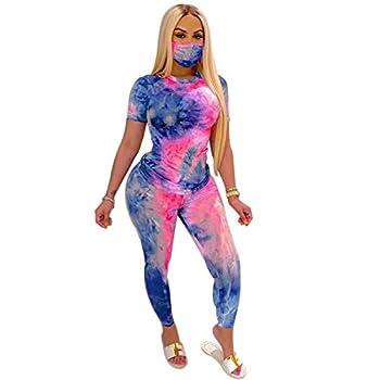 Women 2Pcs Tracksuit Set Short Sleeve Shorts Tie Dye Sports Outfits Summer High Waist Bodycon Yoga Clothes Set  CD L