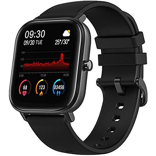 Montre intelligente pour homme et femme avec moniteur de fréquence cardiaque, moniteur de sommeil, mesure de la pression artérielle, étanchéité IPX7, écran tactile 1,4 pouces, compatible avec iOS et Android (Noir)