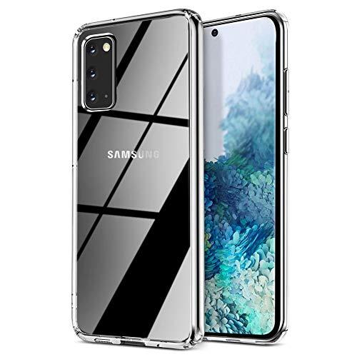 Migimi Glas Hülle Kompatibel mit Samsung Galaxy S20 Handyhülle, 9H Panzerglas SchutzHülle, [Kratzfest] [Weicher Bumper] [Anti-Gelb] Transparent Hard Case für Samsung Galaxy S20 [6.2