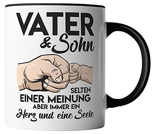 vanVerden Tasse - Vater & Sohn - selten einer Meinung - Tassen für Vatertag Spruch Vater - beidseitig Bedruckt - Geschenk Idee Kaffeetassen, Tassenfarbe:Weiß/Schwarz