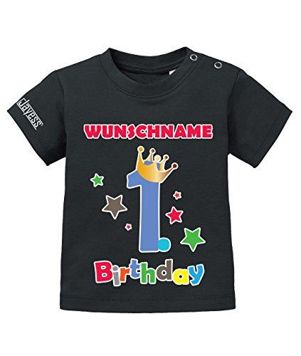 Jayess Geburtstag - First Birthday Shirt mit Personaliesierten Wunschnamen - Jungen - Baby T-Shirt in Schwarz by Gr. 80/86