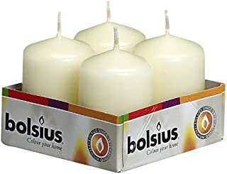 BOLSIUS Tray of 4 Ivory Pillar Candles - 7 Long Burning Hours Candle Set - 1.60-inch x2. 40-inch Dripless Candle - Perfect for Wedding Candles, Parties and Special Occasions
