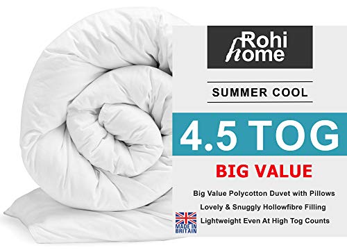 ROHI Basics Duvet & 2 Deluxe Pillows - Single, Double, King & Super King - 4.5/10.5/13.5/15 TOGS - MULTIPLE PACK OFFER!! BEST PRICE & QUALITY ON AMAZON!! (Soft Polycotton, 4.5 Tog King Duvet & Pillow Pair (Summer))