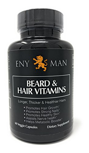 Beard Growth Supplement with Natural and Essential Beard Vitamins and Biotin Promotes Faster Facial Hair Growth for Men| 60 Capsule | Fuller and Thicker Beard Grower