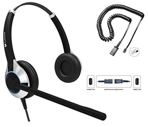 TruVoice Deluxe Headset mit Noise Cancelling Mikrofon und Kabel für Yealink T19 T20 T21 T22 T23 T26 T27 T28 T29 T32 T36 T38 T40 T41 T42 T46 T48 T52 T54, Snom und Grandstream IP Telefone