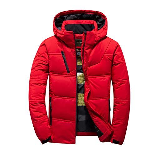 UJUNAOR Lange Dicke Daunenjacke für Herren Winter Warme Mantel aus Baumwolle Mit Kapuze(Rot,CN L)