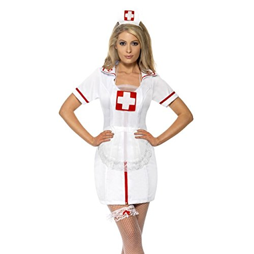 Womens Nurse's Kit White with Cap Garter and Net Apron Fancy Dress Matron Naughty Sexy Nurse Hen Do Party Wedding Shower Carry On