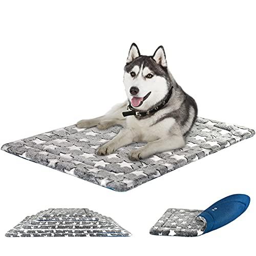 KROSER Cama para Perros Colchoneta Reversible Colchón para Mascotas Elegante 106 cm Almohadilla de Esponja de Alta Densidad Lavable a Máquina Cama para Perros X-Large de hasta 41kg