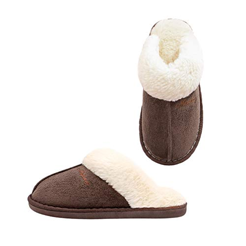 OctiveMe Womens Slippers,Fluffy Slip-On House Slipper Cozy Faux Fur Warm Winter Slippers Indoor & Outdoor (7-8 B(M) US, Coffee)