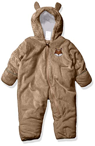 Carter's Baby Girls Bundle Up Cozy Pram with Ears, Footed Khaki Fox, 3/6 Months