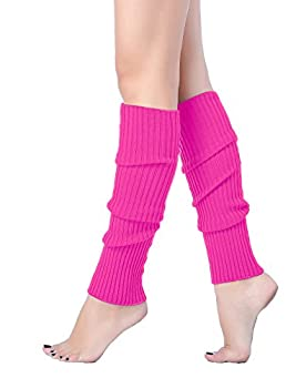 V28 Women Juniors 80s Eighty s Ribbed Leg Warmers for Party Sports  Rose
