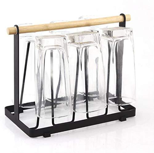 DUDDP Kitchen shelf Metal Steel Mug Holder Glass Cup Drying Dryer Organizer Storage Rack with 6 Hook Easy to Clean Home Kitchen Supplies Utensil - Random Color