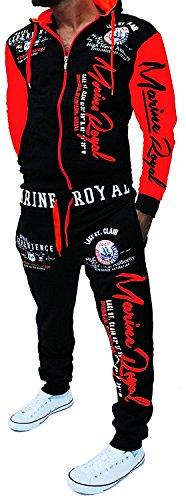 Chándal para hombre de entrenamiento Marine Royal Negro y rojo (Marine). S