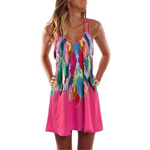 Lulupi Damen Sommerkleid Vintage Ärmellos Blumenmuster Minikleid Casual Kreuz Strappy Spaghetti Tank Kurzes Shirtkleid