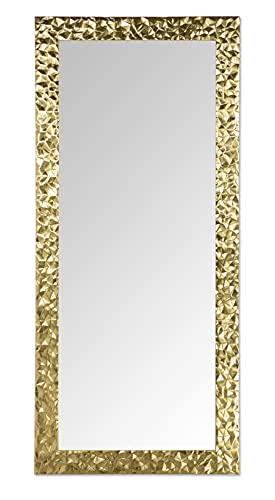MO.WA Specchio parete o appoggio Grande foglia Oro cm. 80x180 Cornice Legno Rettangolare verticale/orizzontale per ingresso camera da letto soggiorno e ogni ambiente. Made in Italy.