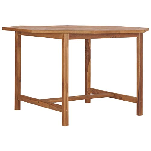 Festnight Garden Table Wood Dining Table for Kitchen, Garden or Patio 120x120x75 cm Solid Teak Wood