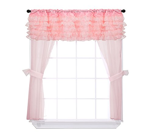 Baby Doll Bedding Layered 5 Piece Window Valance and Curtain Set, Pink