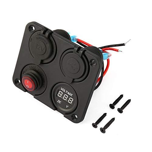 Nuevo Mei nuevo encendedor de cigarrillos de coche divisor de enchufe de coche auto RV camión 4 agujeros panel doble cargador USB voltímetro 12 V instalación es simple y el modelo es adecuado