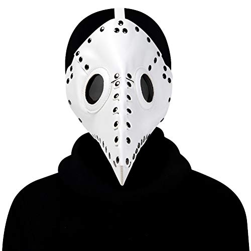 WTZWY Pest-Doktor-Vogel-Maske, Lange Nase Schnabel Cosplay Steampunk Halloween-Kostüm Requisiten Festival Parties für Kinder und Erwachsene,Weiß