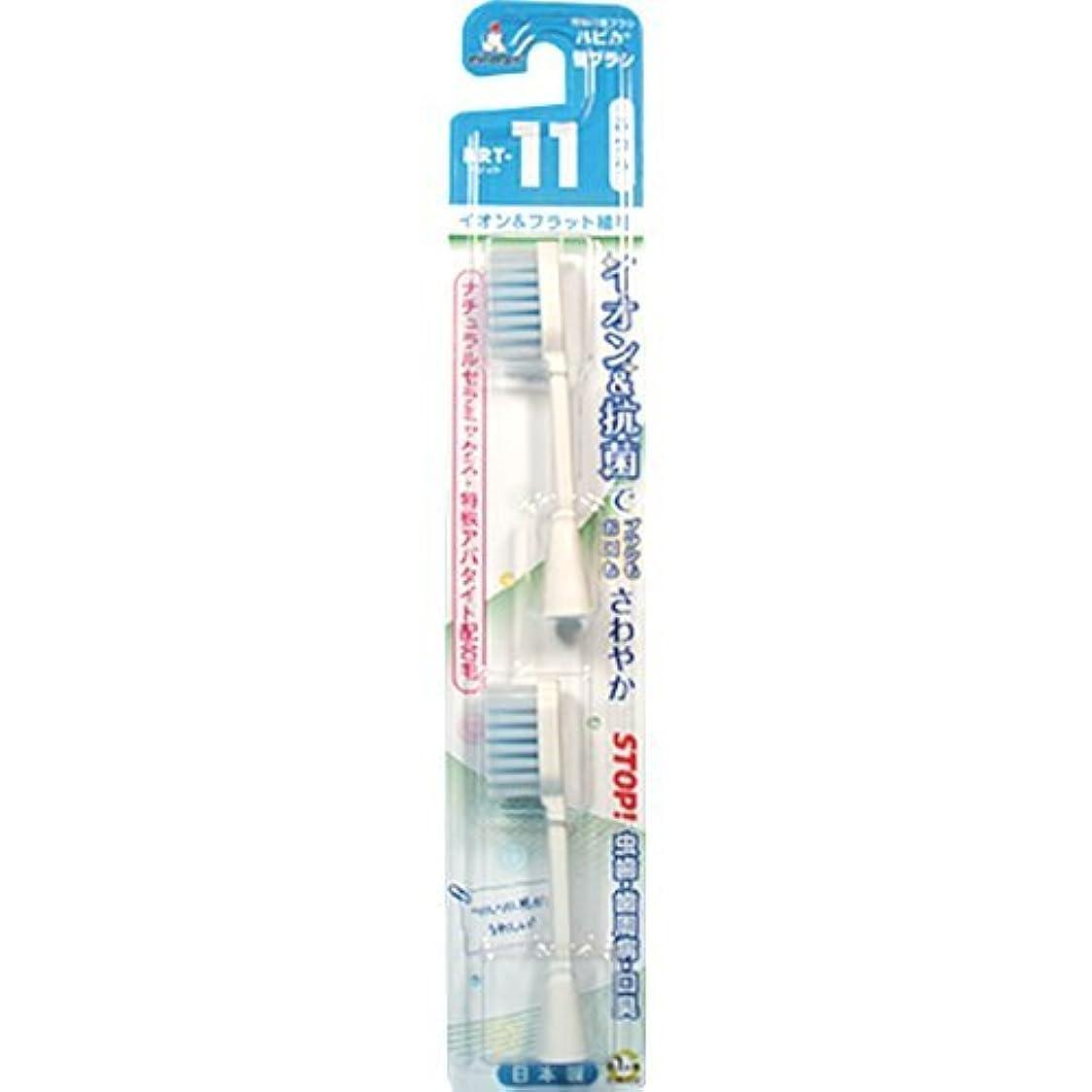 香りスキニー珍味ミニマム 電動付歯ブラシ ハピカ 専用替ブラシ イオン+フラット植毛 毛の硬さ:ふつう BRT-11 2個入