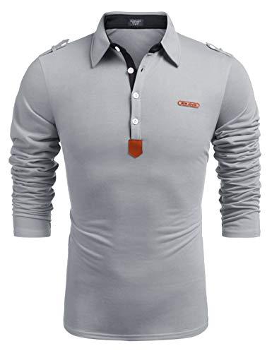 Herren Shirt Langarm mit Stehkragen Regular Fit Business Polohemd Grau XL