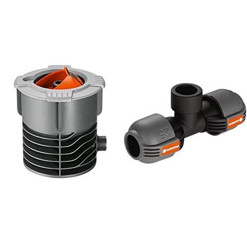 Gardena Sprinklersystem Anschlussdose: Systemanfang von Pipeline und Sprinklersystem & Sprinklersystem T-Stück mit Gewinde: Verbindungsstück für Entwässerungsventil, 25 mm x 3/4 Zoll- Innengewinde