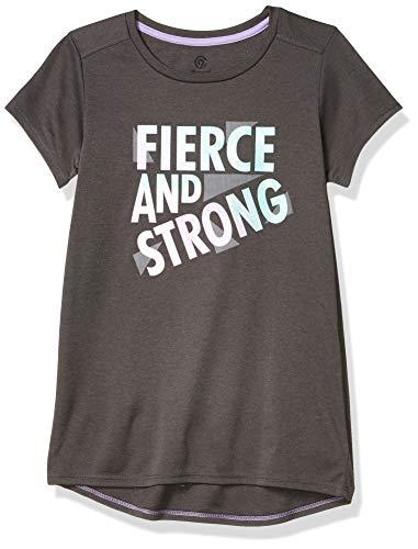 C9 Champion Girls' Tech Tee, Railroad Gray Heather/Fierce and Strong, M