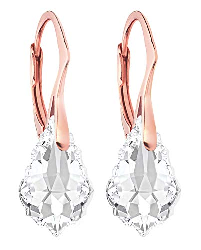 Ah! Jewellery Clear Baroque Crystals By Swarovski Earrings Finished With 18K Rose Gold Over Sterling Silver, Stamped 925.