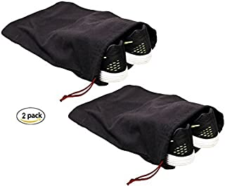 Earthwise 100% Cotton Shoe Storage Bags For Men/Women with Drawstring in Black. Made in the USA. Great for Travel. Each Black bag holds one pair of shoes. 17 inches X 12 inches (2 Pack)