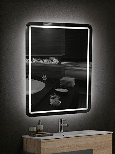 Yellowshop - Specchio Specchiera Cm L.60 x H.80 A Luce LED Retroilluminato Filo Muro Bagno Design Moderno con Touch Modello Border 68