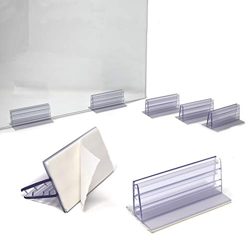 Adhesive Sneeze Guard Holders, Heavy Duty Large Stable Glass Stands to Fasten Acrylic Panels & Plexiglass Sheets Between 3/16' to 1/4' Thick, 3' L x 1.25' H, 6 Pack