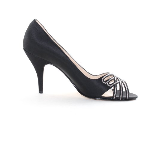 Caparros Charmaine Womens Size 7 Black Peep Toe Textile Pumps Heels Shoes