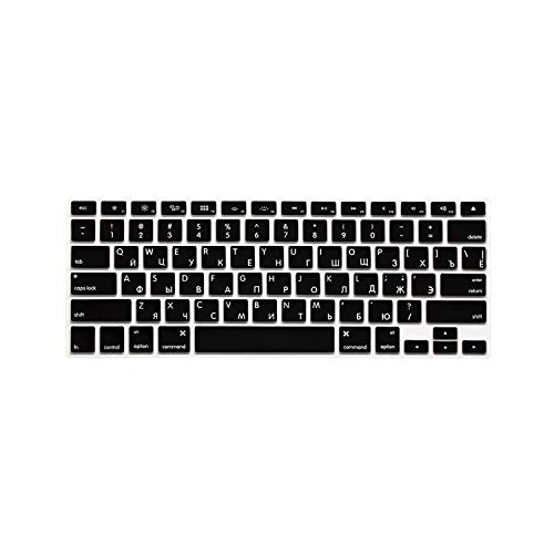 10 Colours US Edition Russian Keyboard Protective Film for Macbook Air Pro Retina 13 Inches Laptop Skin Case Cover for Mac Book Gel Case-Black-