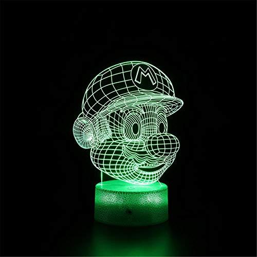Super Mario H 3D LED noche luz 3D ilusión óptica lámpara 16 color cambiante LED estado de ánimo lámpara escritorio mesa lámpara niños regalo