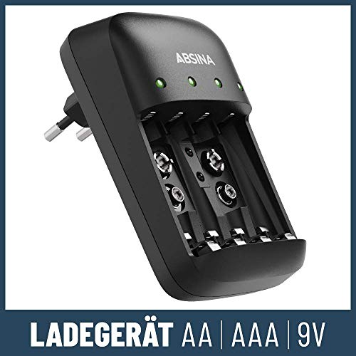 ABSINA Akku Ladegerät X4 für AA, AAA & 9V - Akkuladegerät 4-Fach zum Laden von wiederaufladbaren Akkus - NiMH Ladegerät Akku für Micro AAA, Mignon AA & 9V Block Akkus - Batterieladegerät
