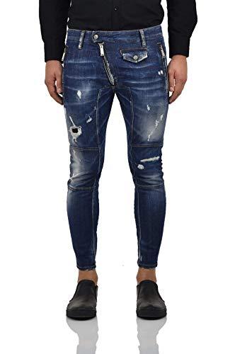 Dsquared2 Leather Biker Jean Reißverschlüsse - Größe: 48 - Blau - Neu