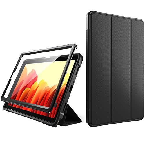 ProCase Funda para Galaxy Tab A7 10.4' 2020 SM-T500/T505/T507, Tipo Folio Cuerpo Completo, con Soporte Triple y Protector de Pantalla Incorporado, Carcasa Inteligente Antigolpes -Negro