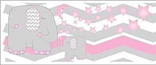 Pink Elephant Border Wall Decals/Chevron Border with Pink Moon and Stars Nursery Decor (Pink Elephant Border)