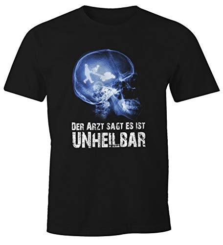 MoonWorks Herren T-Shirt Xray Der Arzt SAGT es ist unheilbar Hobby Röntgenbild Schädel Gärtner Gartenarbeit Rasenmäher Gießkanne Garten Fun-Shirt schwarz XL