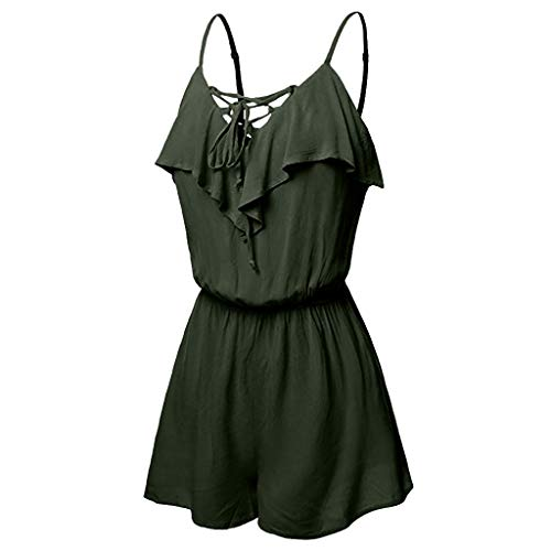 PIKAqiu33 Women's Large Size Casual Sleeveless Overlap Front Frill Detail Jumpsuit, for Christmas New Year (Green-4XL)